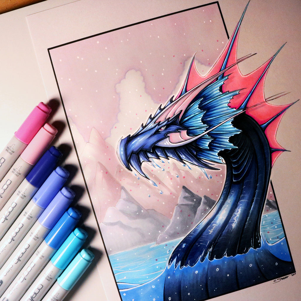 1024x1024 Water Dragon Drawing by LethalChris on DeviantArt