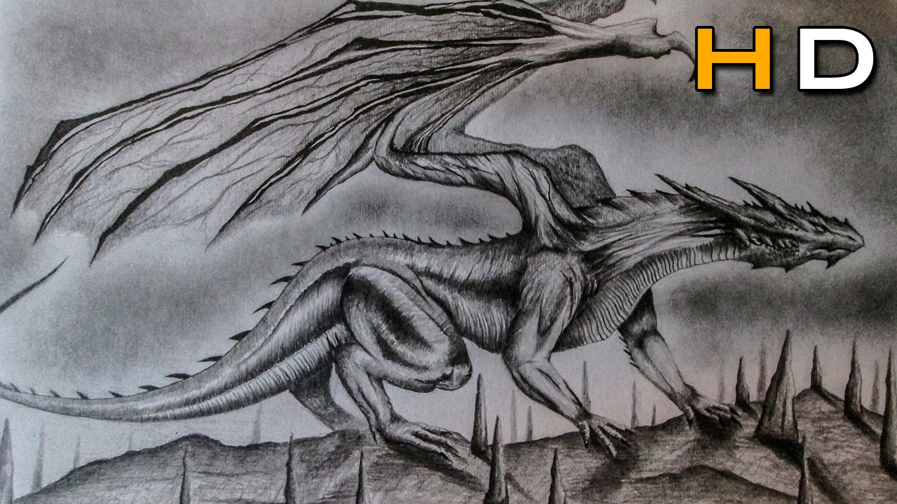 1280x720 Drawing a Realistic Dragon With Pencil
