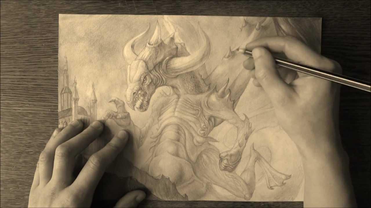 1280x720 The Dragon (Pencil Drawing)