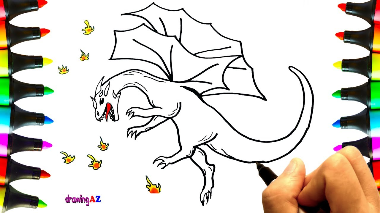 1280x720 Dragon Drawing And Dragon Coloring Pages For Children With Colored