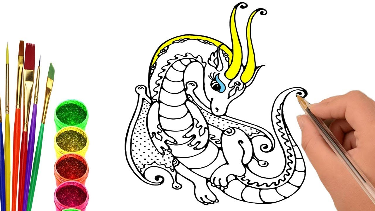 1280x720 How To Draw Dragon, Dragon With Alien, Coloring Book And Coloring