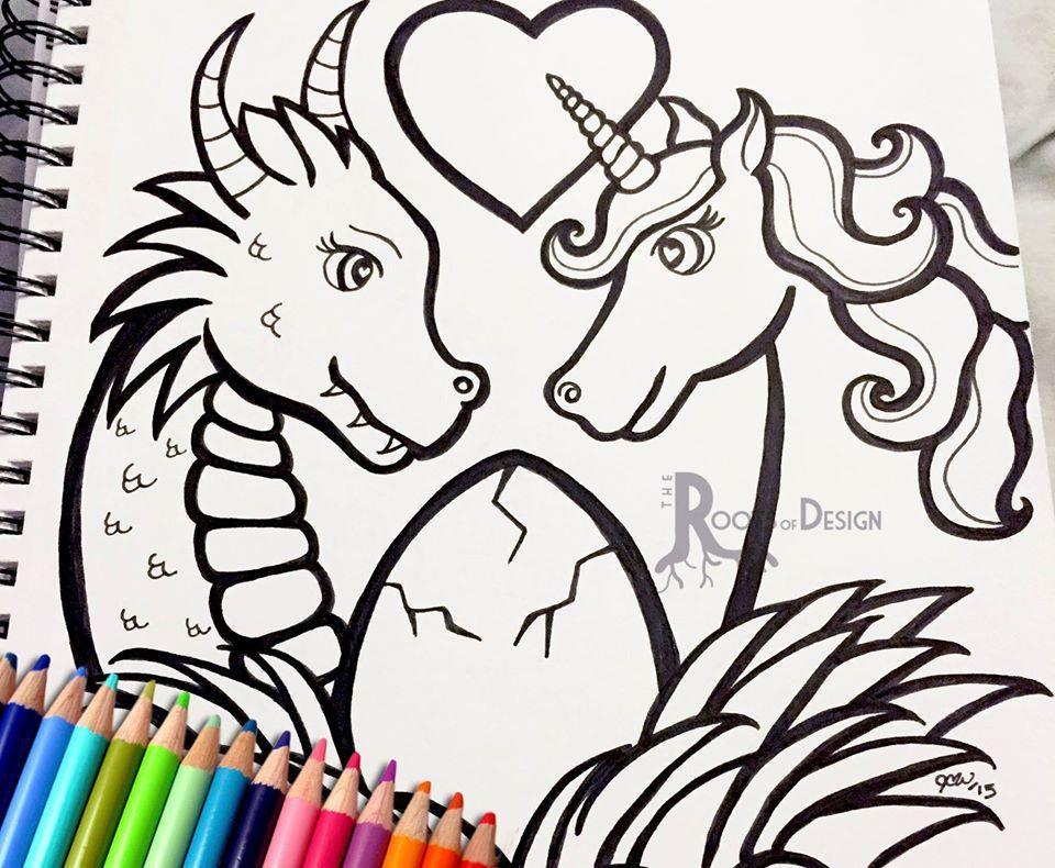 960x790 Dragon Unicorn Hearts And Love Adult Coloring Page Book All