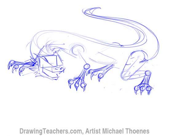 550x444 How To Draw A Dragon Lizard