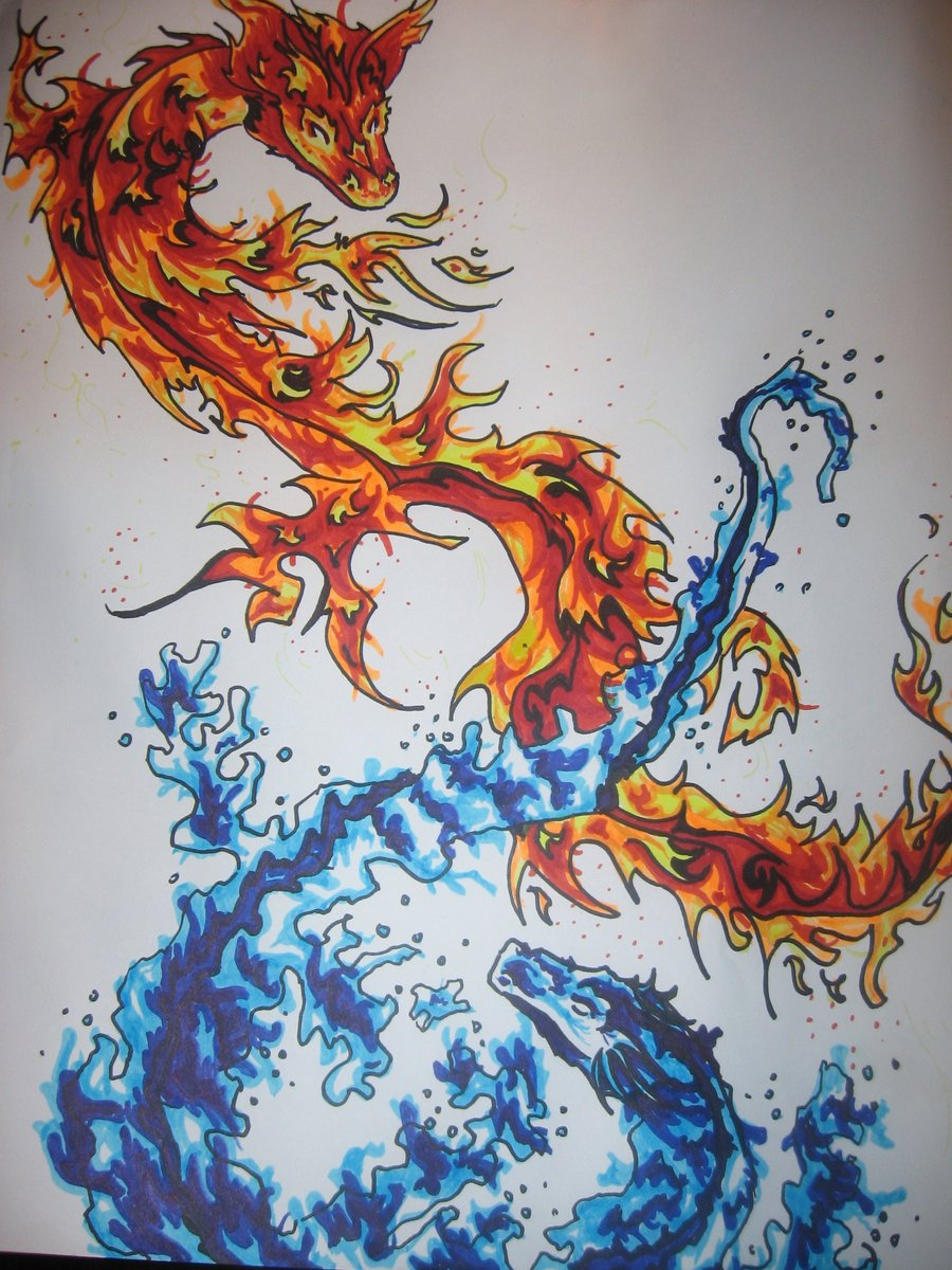 900x1200 Drawn Water Dragon Fire And Water