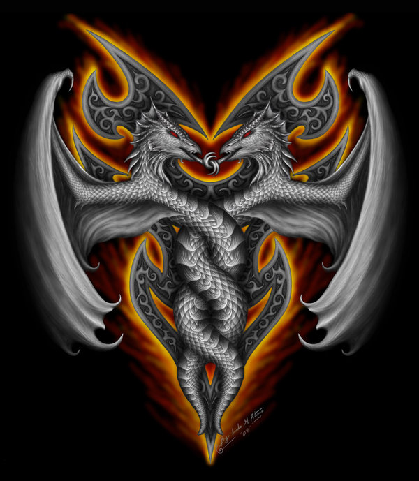 600x689 Twin Dragon's Fire By On @