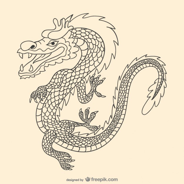 626x626 Asiatic Hand Drawn Dragon Vector Free Download