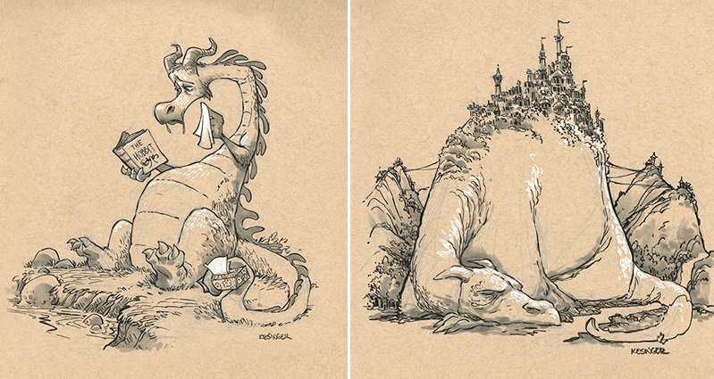 799x425 Brian Kesinger Creates Fun Drawings Of Dragons That Abolish Their