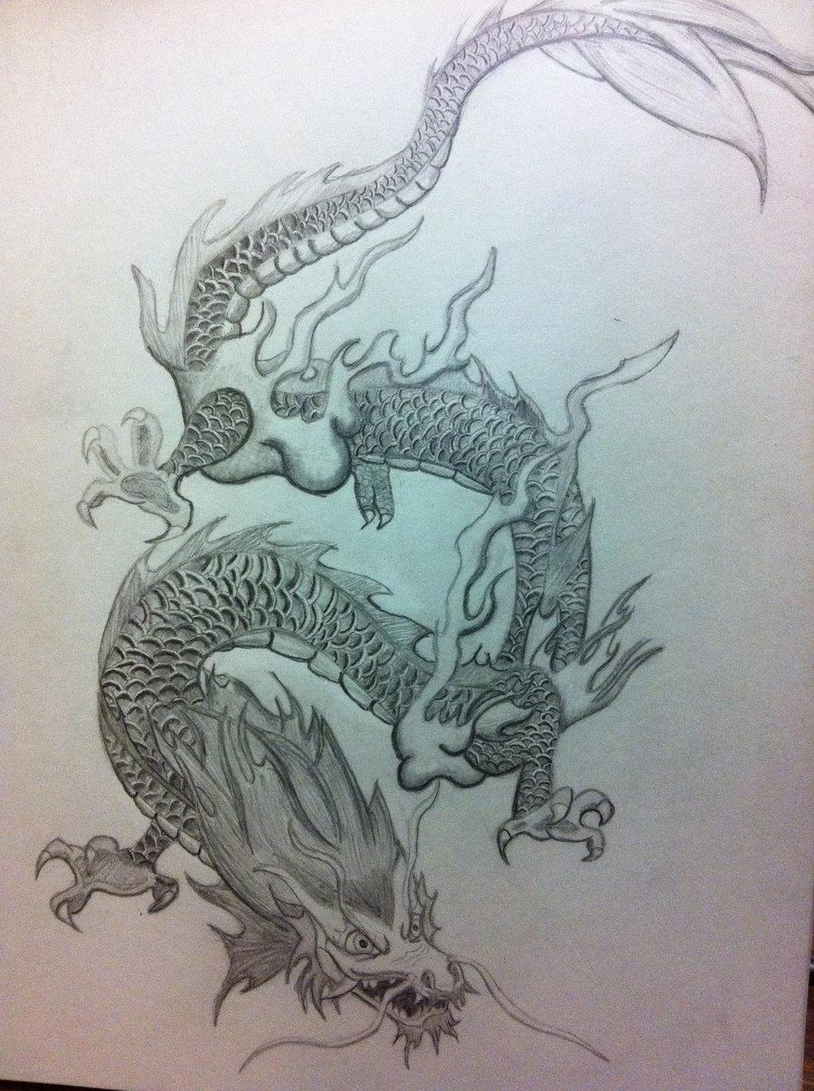 900x1205 Drawn Chinese Dragon Pencil Draw