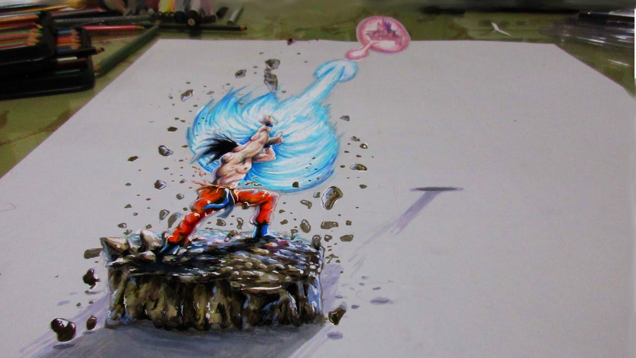 1280x720 Dragon Ball Z 3d Drawing 3d Drawings Dragon Balls Drawing 3d Goku