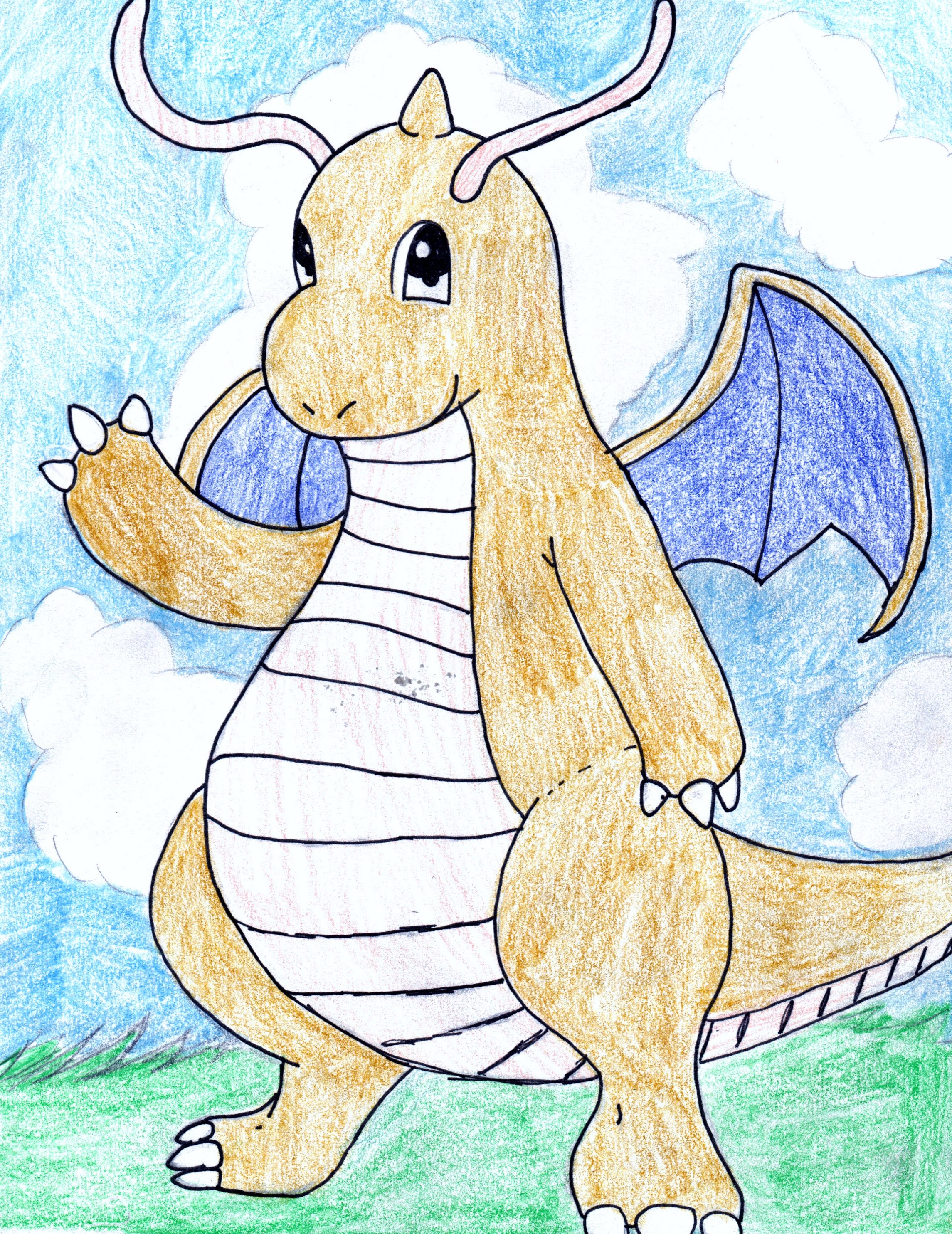2290x2968 Dragonite Pokemon Drawing D
