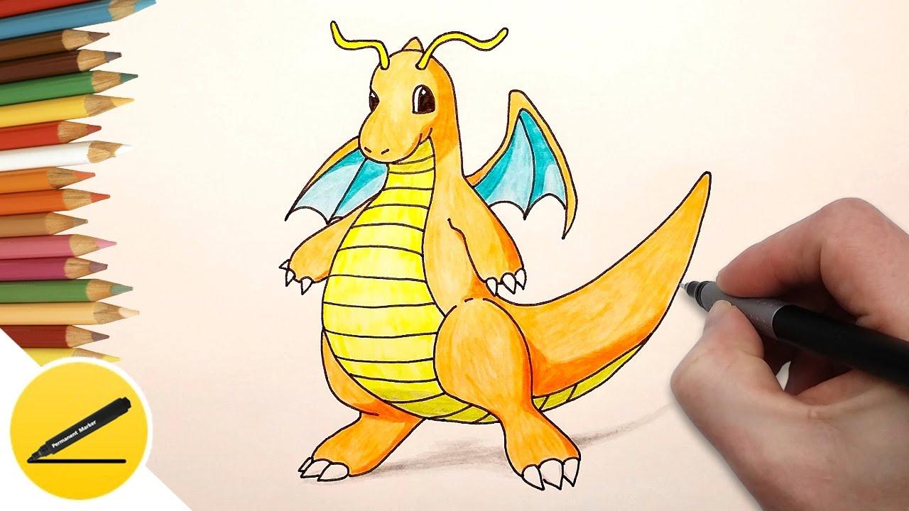 1280x720 How To Draw Dragonite (Pokemon Go)