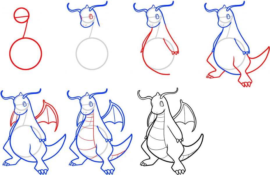 928x604 How To Draw Dragonite Step By Step