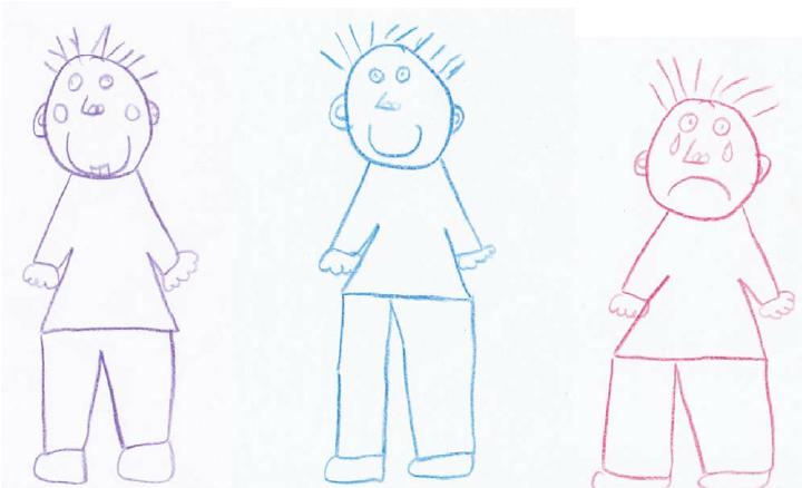 720x438 8 Year Old Boy's Baseline, Happyd Sad Self Drawings