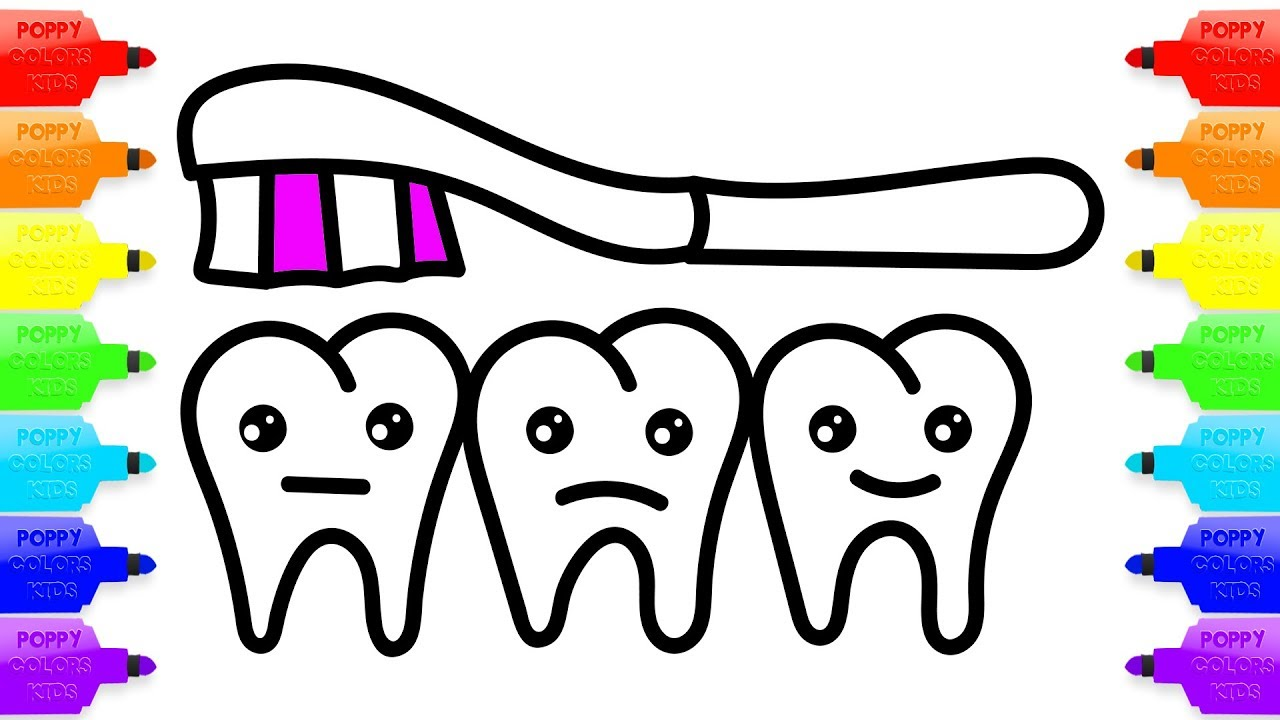 1280x720 Coloring Book Teeth For Baby. How To Draw Toothbrush