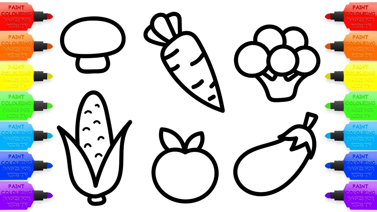 1280x720 How To Draw Vegetables For Baby Coloring Book And Drawing For Kids