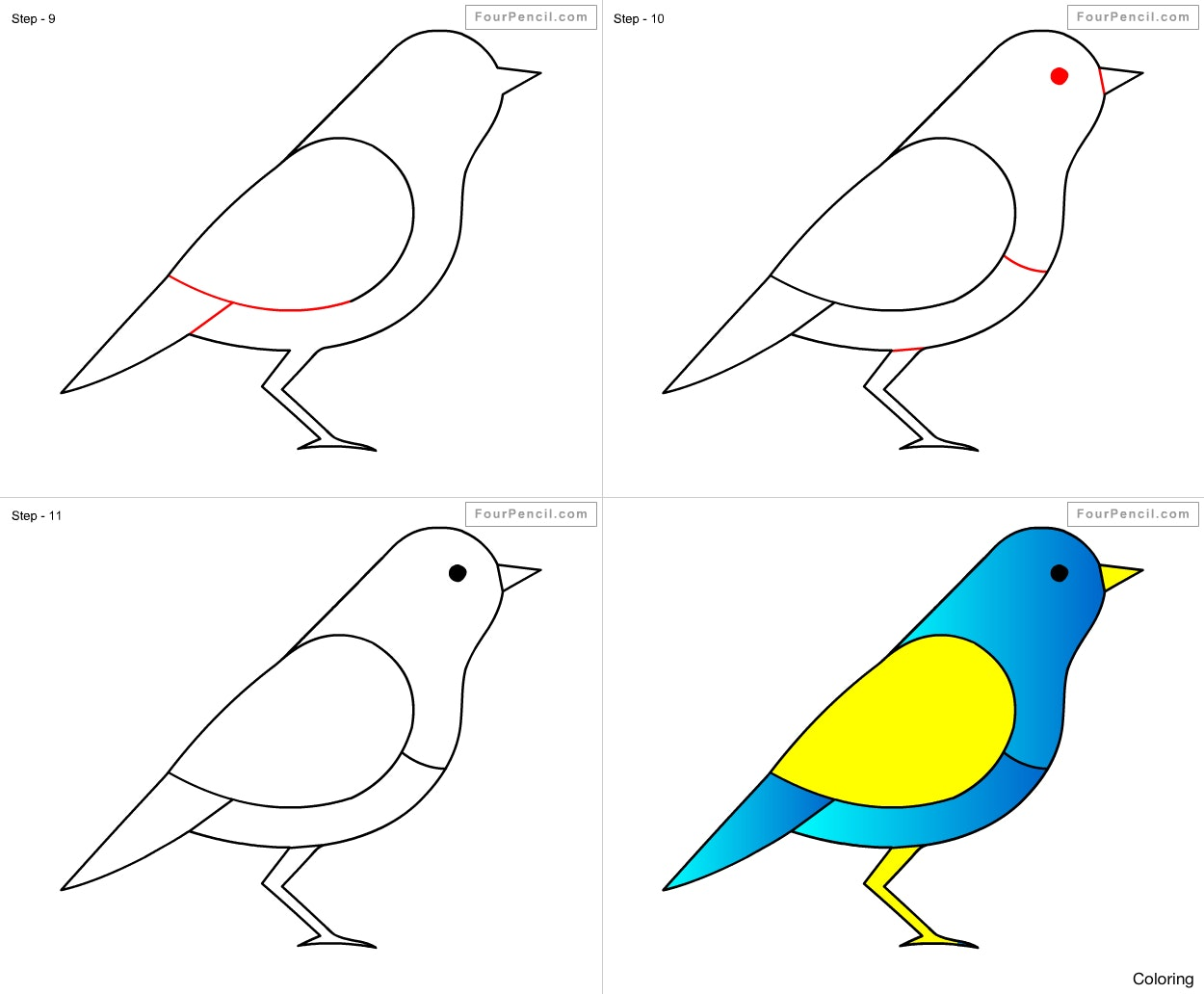 1250x1032 How To Draw A Bird For Kids Drawing Birds Art Library Coloring 9f