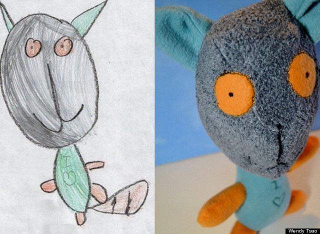640x468 Children's Drawings Transformed Into Stuffed Animals Kid