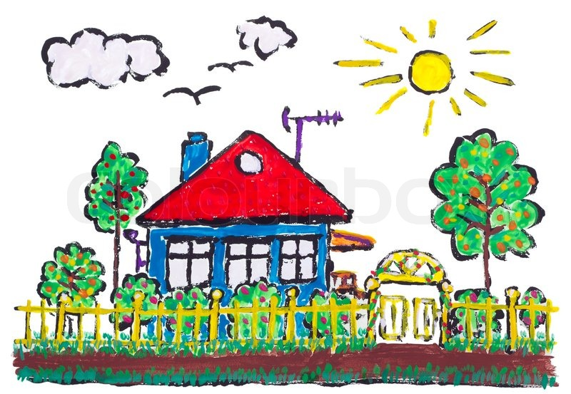 800x553 Painted Village Home Landscape Children Drawing Stock Photo
