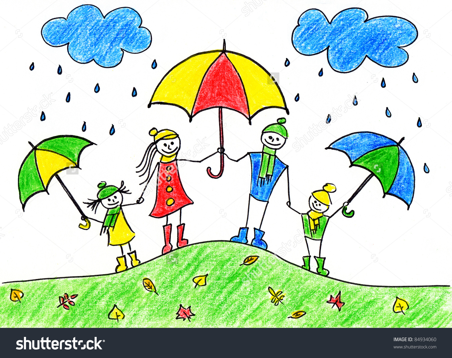 1500x1188 Rainy Day Drawing For Children Childrens Drawing Happy Family