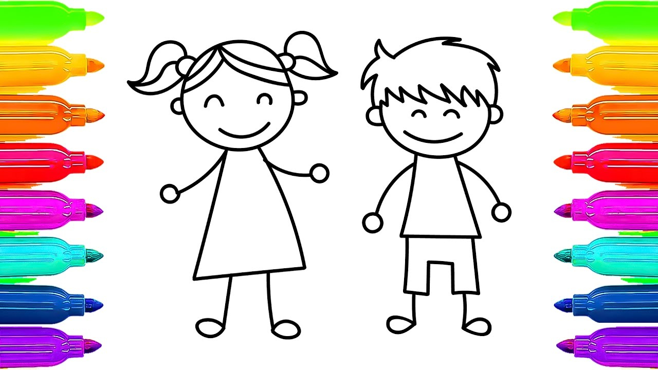 1280x720 A Girl And A Boy Easy Drawing How To Draw Kids Girl And Boy