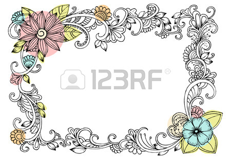 450x309 Doodle Drawing For Coloring Book. Pattern. Beautiful Flower