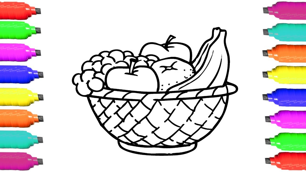 1280x720 Incredible Picture Of Fruit Basket For Coloring Pages Fruits How