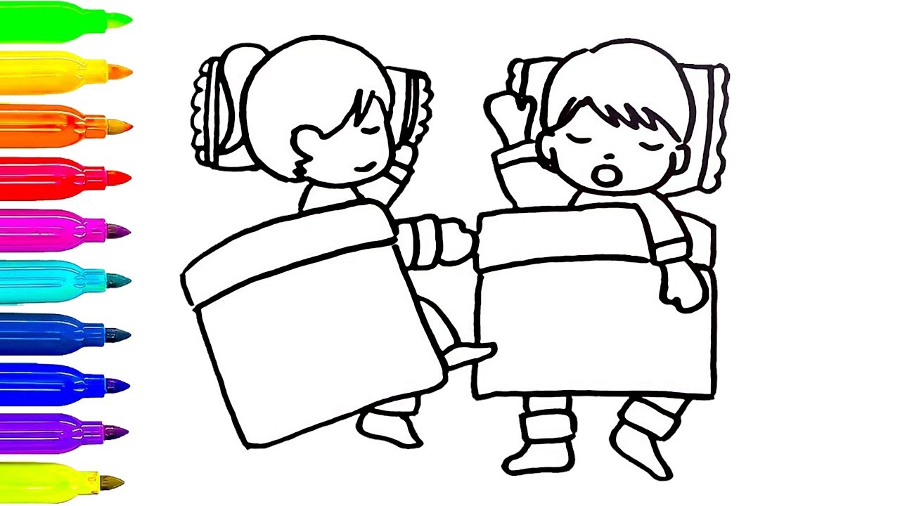 1280x720 Sleeping Kids Drawing Coloring Pages How To Draw For Children
