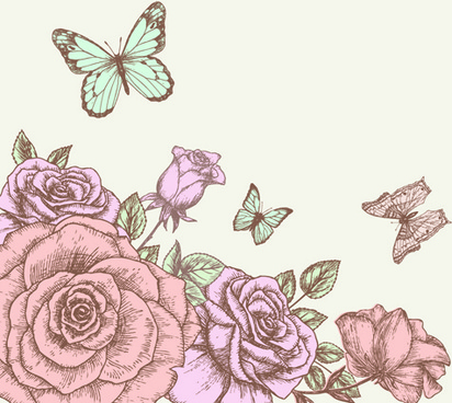 412x368 hand drawing flowers free vector download 100501 free vector