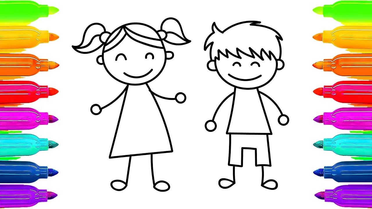 1280x720 How To Draw Kids Girl And Boy Learning Coloring Pages