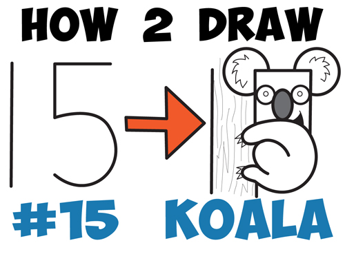 500x369 How To Draw A Cartoon Koala Bear From The Number 15