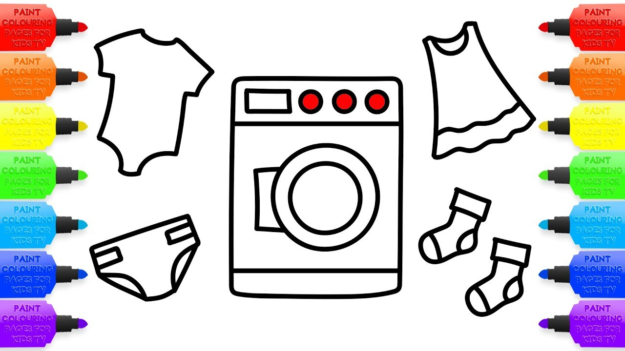 1280x720 Baby Washing Machine Toys And Clothes Children Coloring Book