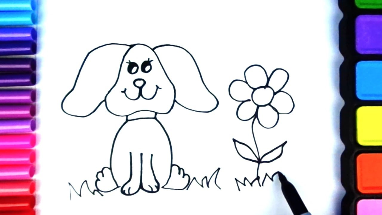 1280x720 Coloring Pages For Kids To Learn Colors Dog