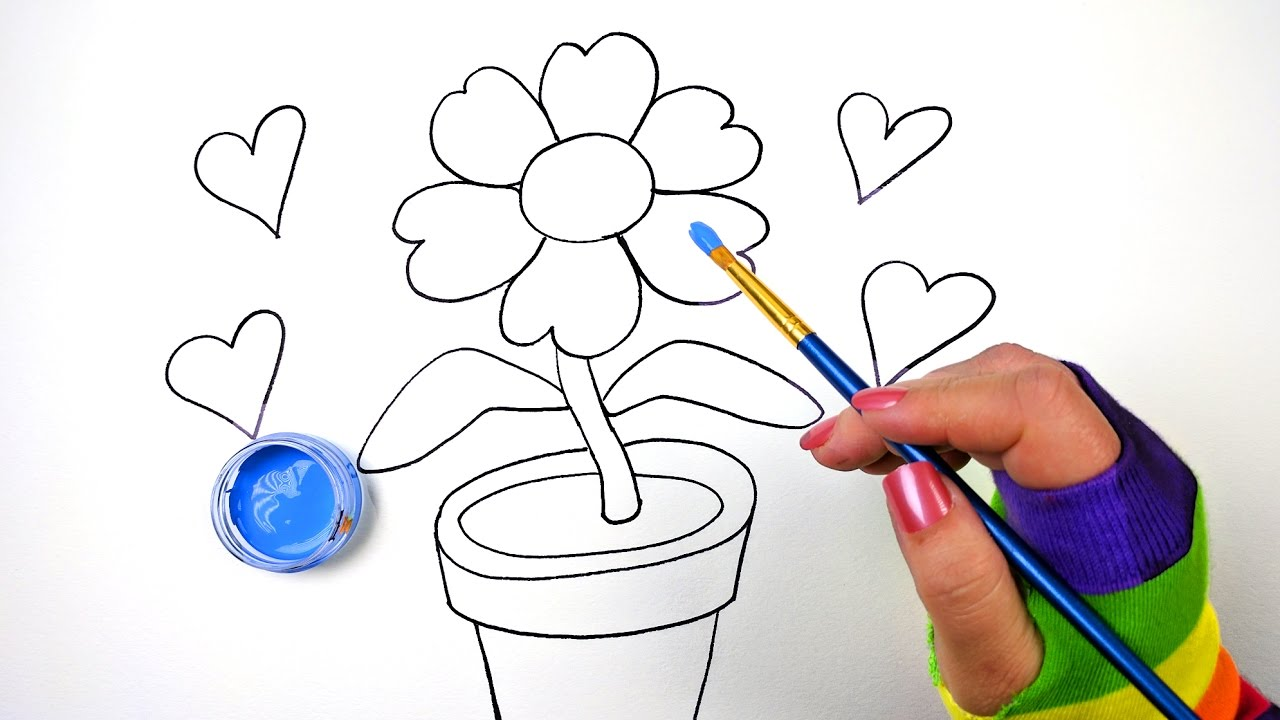 1280x720 How Draw Color And Paint Flower Pot Coloring Page For Kids