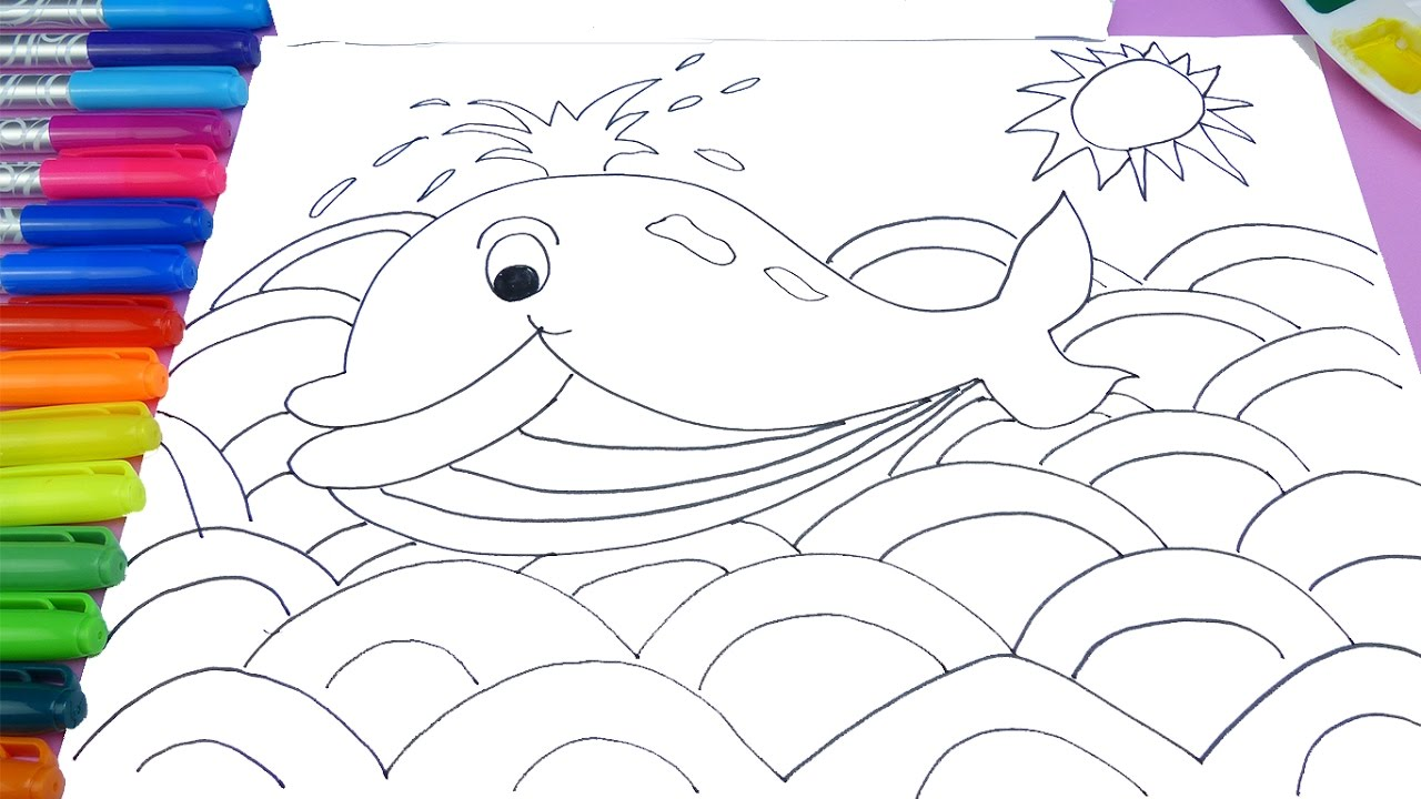 1280x720 Learn Colors Whale Coloring Page Learn To Draw And Paint For Kids