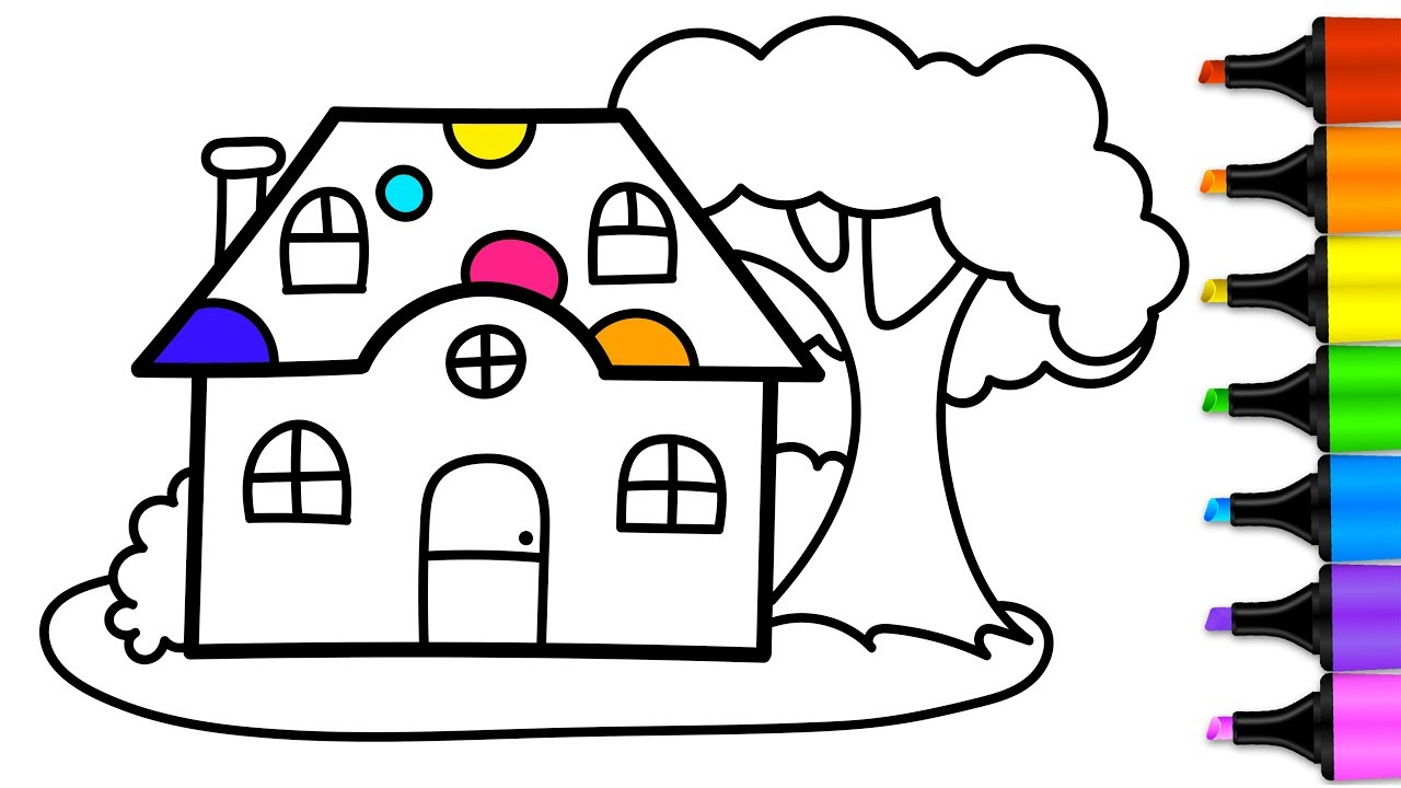 1280x720 How To Draw Little House Coloring Book For Children Drawing