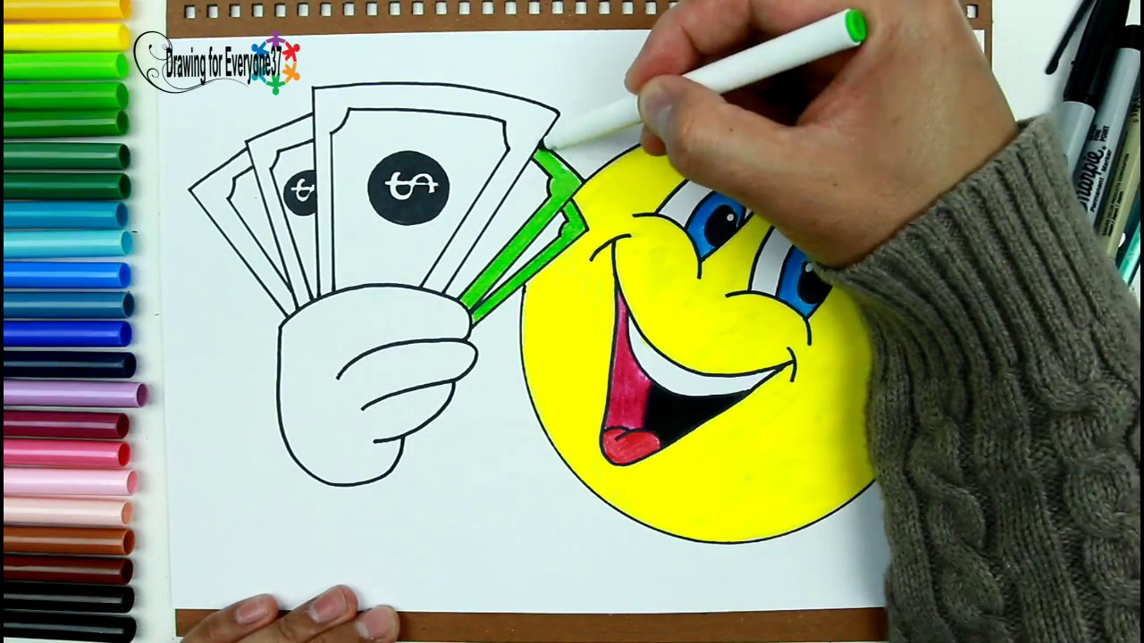 1280x720 How To Draw And Color Emoji Holding Money Drawing For Everyone37