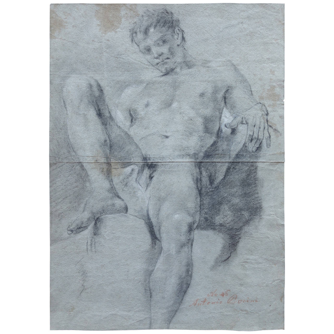 1280x1280 Double Sided Academic Study Of A Male Nude Drawing For Sale
