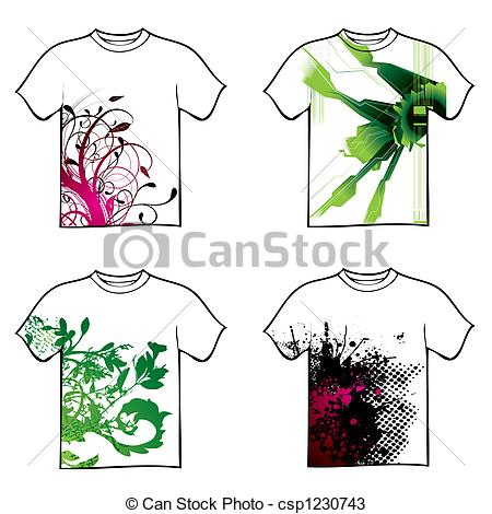 450x470 Collection Of Four Tshirt Design With Floral And Ink Drawings