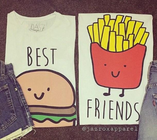 610x545 Shirt Clothes, T Shirt, Best Friends Top, Chips, Hamburger, Cute