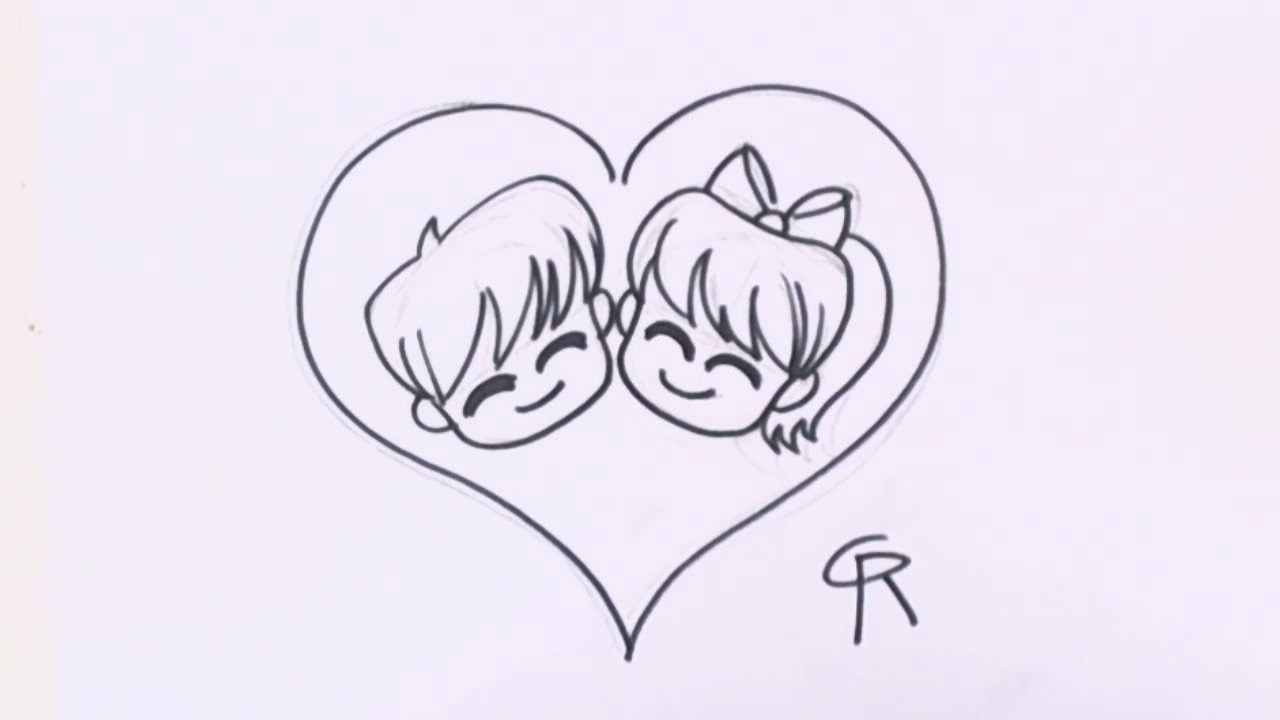 1280x720 Cute Love Sketches Simple Cartoon Love Couple To Draw Free