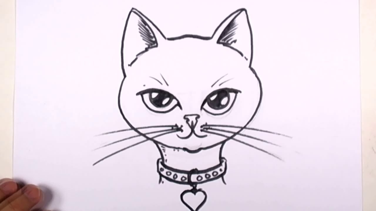 1280x720 Easy Drawings Of Cats Cute Cat Face Drawing Free Download Clip