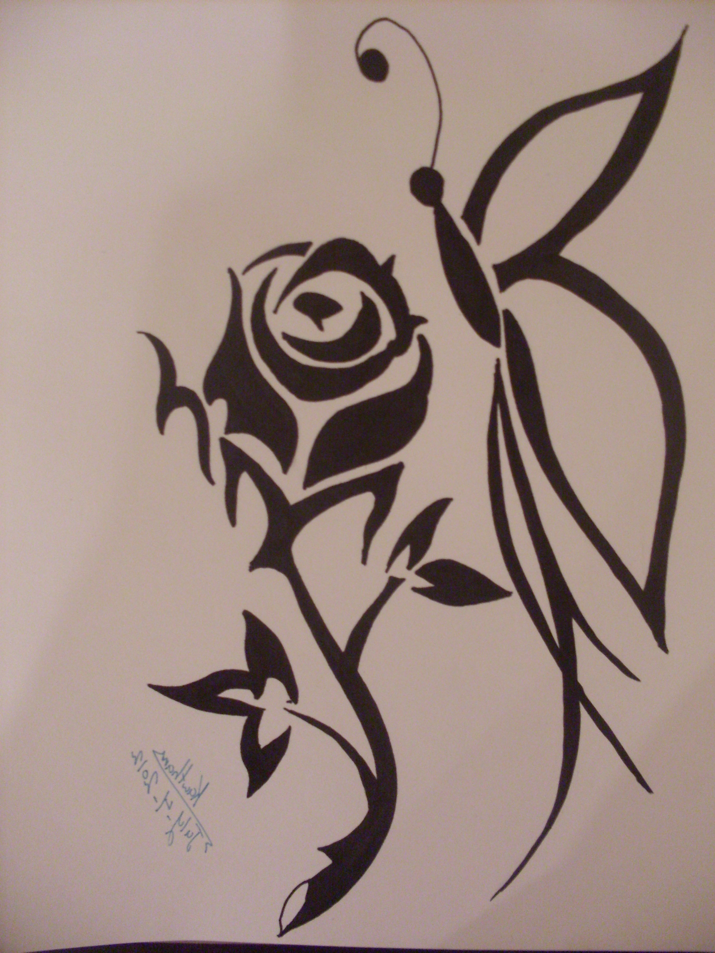 2304x3072 Simple Butterfly Rose Flower Sketch Image Rose Flowers Drawing