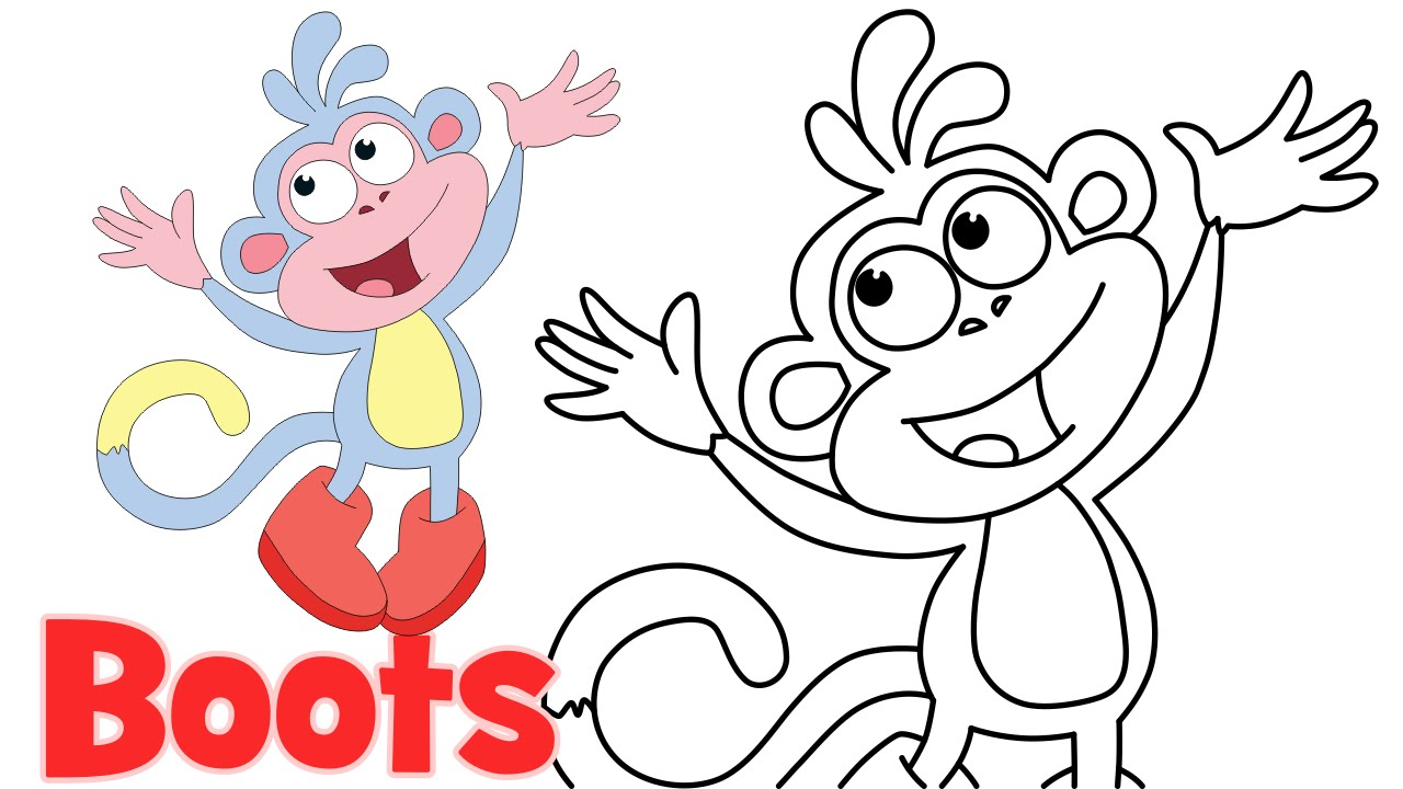 1280x720 How To Draw Cartoons Boots Dora The Explorer Characters Step By
