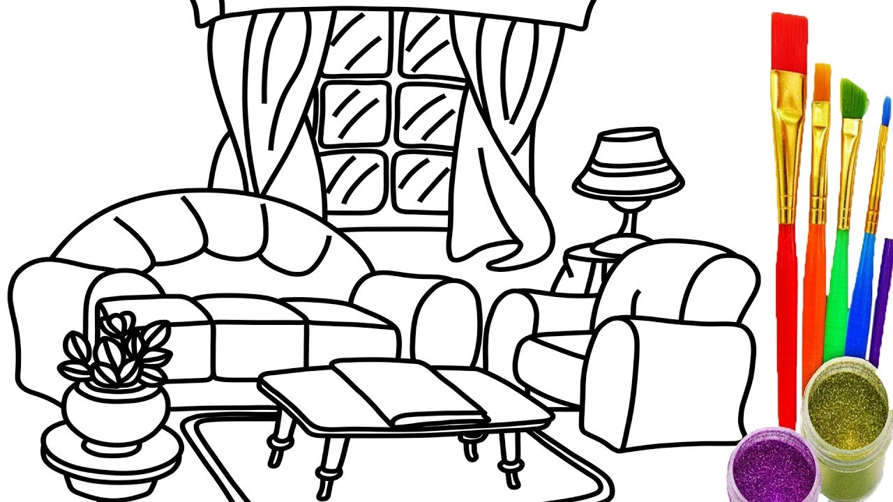 coloring pages simple living room - photo#18