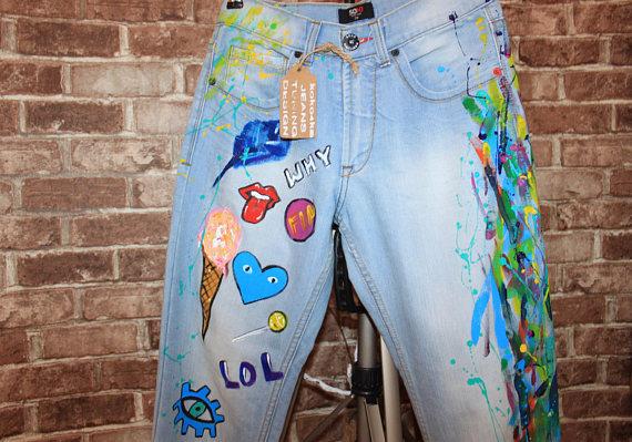 570x399 Jeans Boyfriend Jeans Festival Clothing Hand Painted Paint