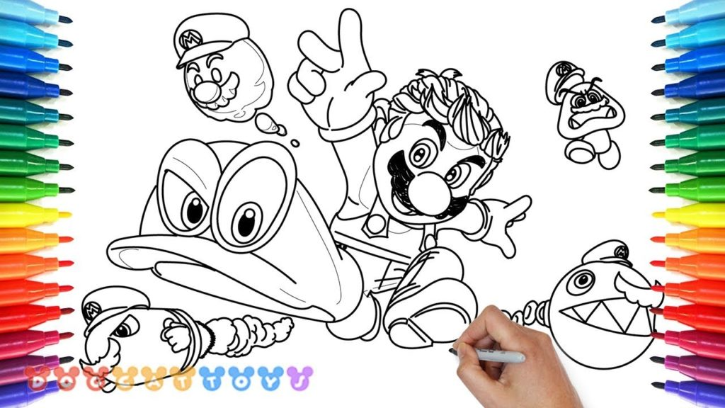 1024x576 How To Draw Mario Odyssey 23 Drawing Coloring Pages For Kids