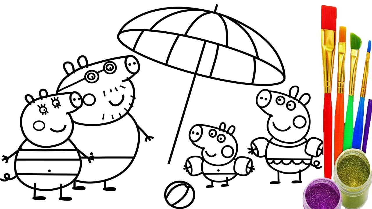 1280x720 How To Draw Peppa Pig Family Coloring Pages Kid Drawing