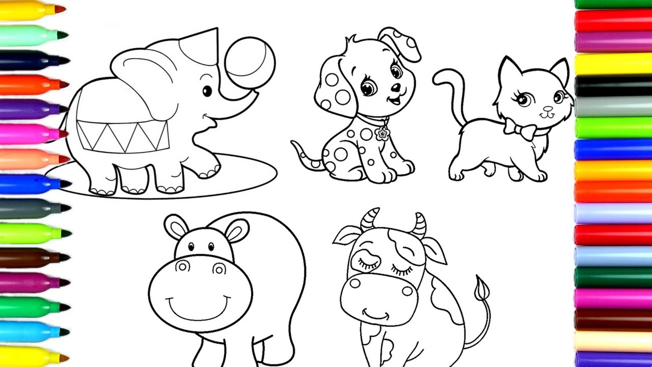 1280x720 Coloring Pages Cute Animals Drawing Pages To Color For Kids