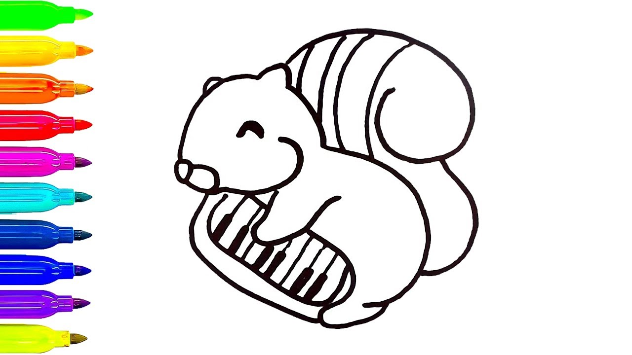 1280x720 How To Draw Squirrel For Kids Coloring Pages Animals Learn