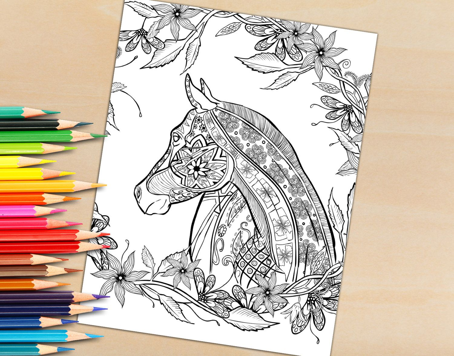 1500x1176 Download Your Hand Drawn Decorative Horse For Coloring To Print By